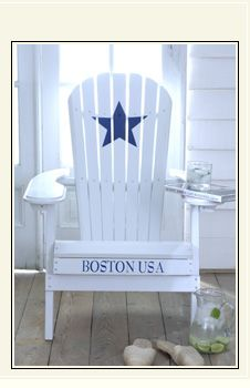 Beach chair - I would do this chair with the name of my beach cottage.  #star #Boston