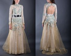 Gold tulle bohemian dress with embroidered by AtelierDeCoutureJK