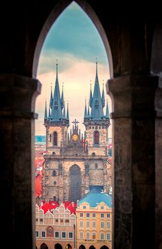 The church of Our Lady in front of Týn at Old Town, Prague, Czechia Church Of Our Lady, Prague Czech Republic, Heart Of Europe, Old Town Square, Ancient Egyptian Art, Window View, Town Hall, Eastern Europe, Beautiful Places