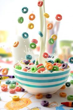 Rianbow Cereal with Milk Splash Photography by Mike Wepplo