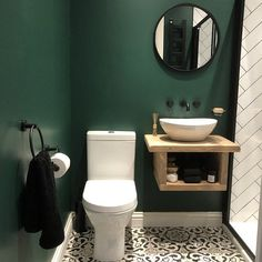 Small Downstairs Toilet, Small Toilet Room, Downstairs Bathroom, Small Toilet Decor, Dark Green Bathrooms, Small Dark Bathroom, Small Rustic Bathrooms, Small Sink, Green Bathroom Paint