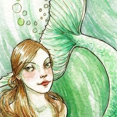 Sea Dreams  ACEO Limited Edition Print by by TheBrilliantMagpie, $5.00? Love these! Already own some of her prints, may be the only mermaids featured in my mermaid bathroom.