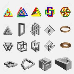 Oggetti Geometrici Impossibili Clipart Royalty-free, Vettori E Illustrator Stock. Pic 5422071.