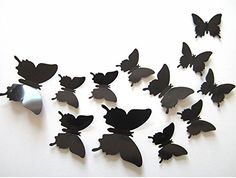 ufengke 12Pcs 3D Butterflies Wall Stickers Fashion Design DIY Butterfly Art Decals Crafts Home Decoration Black -- Read more  at the image link.