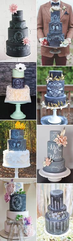 French industrial wedding inspiration.  Chalkboard Wedding Cakes: The Hottest Cake Trend for 2015 | www.onefabday.com