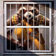 Comic book art of 'Rocket Raccoon' from 'Guardians Of The Galaxy'