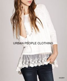 ON MY MIND Flowy Poet Dreamy Cotton Lace T-shirt/Top/Blouse URBAN PEOPLE SMALL #Urbanpeopleclothing #KnitTop #Casual