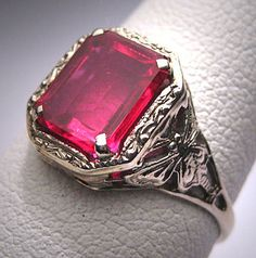 Antique Ruby Ring Wedding Vintage Art Deco by AawsombleiJewelry