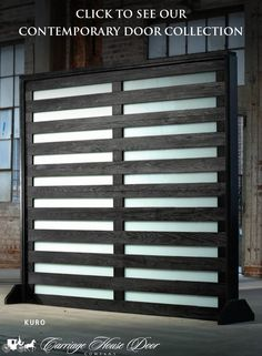 """Introducing the Kuro door. Shown here with white laminate glass, this door uses the ancient Japanese tradition """"Shou Sugi Ban"""" to char wood for protection against rot, insects and fire – environmentally friendly and fashionable! Click to see our entire contemporary catalog."""