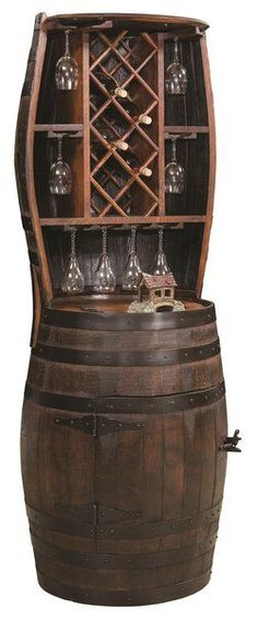 Amish Barrel Hutch with Wine Rack for 7 Bottles Rich rustic look for wine storage! Within the barrel cabinet there's even a Lazy Susan to conveniently spin to the item you wish to select. A unique look for rustic rooms or log cabins. #winebarrel #winestorage