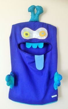 Monster Laundry/Toy Bag, Superb Blue & Turquoise Double Eye Friendly Monster, I'm a Pet, Bag, dress Up, Softie,kids, Christmas present, gift by ColourMeldDesigns on Etsy