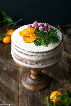 Tangerine Layer Cake With Tangerine Curd And Cream Cheese Frosting Recipe – decadent and festive cake, which is perfect for the holidays! - Tangerine Layer Cake With Tangerine Curd And Cream Cheese Frosting Recipe - Cooking LSL Christmas Cake Decorations, Holiday Cakes, Christmas Desserts, Christmas Cakes, Christmas Drinks, Holiday Baking, Christmas Baking, Christmas Bread, Italian Christmas