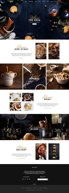 Rosa is restaurant WordPress theme build to help restaurant and other culinary o. - Rosa is restaurant WordPress theme build to help restaurant and other culinary owners to shape an e - Website Design Inspiration, Web Design Blog, Coperate Design, Food Web Design, Web Design Websites, Website Design Layout, Menu Design, Layout Design, Logo Design