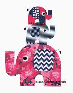 1801 Pink and Navy Blue Elephants Nursery Artwork Print Baby Room Decoration Kids Room Decor Gifts Under 20 art wall chevron stripes girl