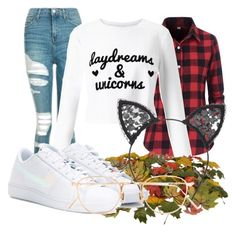 """""""Fall outfit #17"""" by guusjelovesfashion on Polyvore featuring mode, Topshop, Miss Selfridge, NIKE, Fleur du Mal en Eyevan 7285"""