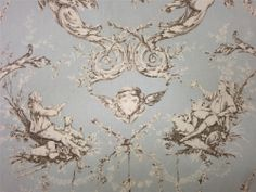 Curtain Fabric Double Width French Louis XVI Toile Duck Egg Cotton Print By Mt