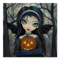"October Woods Halloween Square Car Magnet 3"" x 3"" on CafePress.com"