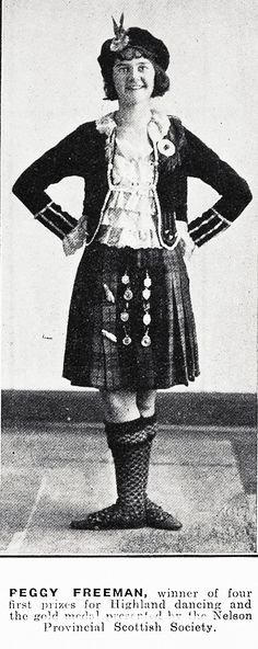PEGGY FREEMAN, winner of four first prizes for Highland dancing and the gold medal presented by the Nelson Provincial Scottish Society. Auckland News 28 August 1935.