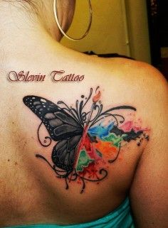 Distinctive humming bird watercolor tattoo on upper back for girls | DIY Watercolor Tattoo