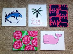 Lilly Pulitzer / Vineyard Vines / Southern Tide 5 Canvas Set on Etsy, $50.00