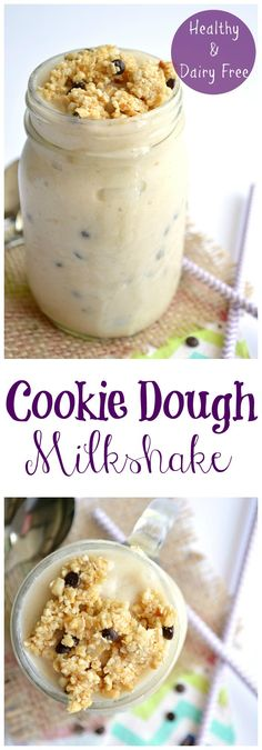Cookie Dough Milkshake.  Skinny style!  This dairy free and healthy shake is the perfect way to cool down this summer! Vegan and Gluten free!