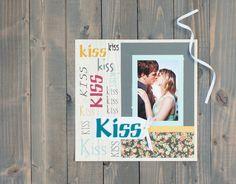 Lyrical Letters 2 Cricut Image Set -- Kiss Kiss Kiss Scrapbook Layout. Make It Now in Cricut Design Space