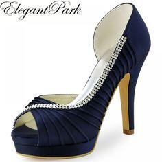 846030e301 Women wedding Shoes Navy Blue Peep Toe High Heel Platform Rhinestone Satin  Bride Bridesmaid Prom Dress Bridal Pumps Mint EP11064