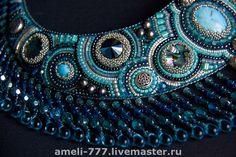 Ирина Руднева. http://www.livemaster.ru/item/251029-ukrasheniya-vyshitoe-biserom-kole-dzhinsovyj