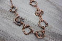 Copper Necklace with Square Wire Links and Copper Chain