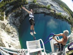 The Great Canadian Bungee Jump - 200 ft about a reservoir fed by a natural spring