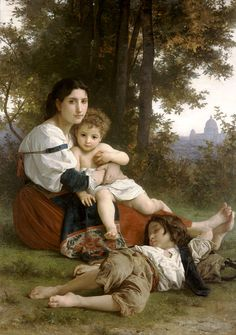 William Bouguereau - Mother and Children ('Le Repos') (oil on canvas, 1879)
