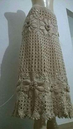 Trendy Ideas For Knitting Summer Shawl Boho Crochet Skirt Pattern, Crochet Skirts, Knit Skirt, Crochet Clothes, Black Crochet Dress, Crochet Blouse, Crochet Lace, Crochet Shell Stitch, Crochet Woman