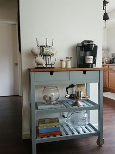 38 Gorgeous Small Kitchen Bar Design Ideas For Apartment Decor - When you have a small kitchen, you're going to want to make the most of its space. A good way to do this is by investing in some small kitchen furnitu. Small Kitchen Cart, Coffee Bars In Kitchen, Coffee Bar Home, Home Coffee Stations, Kitchen Carts On Wheels, Ikea Kitchen Cart, Ikea Bar Cart, Bar Carts, Kitchen Storage Cart