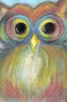 "Pastel art ""The colorful owl"""