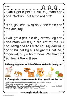 I shared some of my animal-related reading comprehension worksheets on social networks, and my fellow EFL and ESL teachers found them rathe. First Grade Reading Comprehension, Reading Comprehension Worksheets, Reading Fluency, Reading Passages, Kindergarten Reading, Comprehension Strategies, Reading Response, Learning English For Kids, Teaching English Grammar