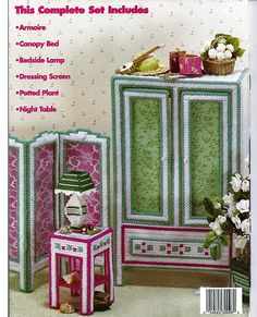 Fashion Doll Bedroom Suite:  Plastic Canvas Pattern from House of White Birches.