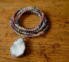 Multi Color Tourmaline & Silver Bead Long Necklace with White Druzy, Silver Edged Pendant