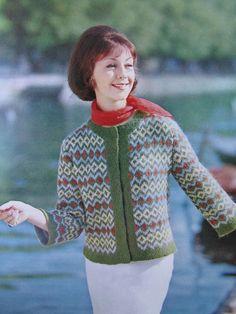 Knit Sweater Pattern - 1960's Vintage Pattern, Women's Fair Isle Cardigan Sweater 2816