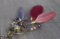 Bohemian Dream Catcher Necklace, Spiritual Necklace, Boho Gypsy Jewelry, Lampwork Glass, Feather, Amethyst, Purple, Brass, Crystal Necklace by LaSistaBeads on Etsy