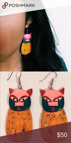 Handmade Cat Earrings Handmade and painted, wooden, light weight. Purchased at an independent art gallery in Mexico City Jewelry Earrings