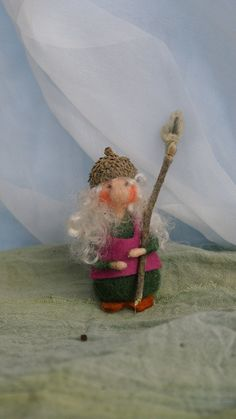 Hannchen the needle felted Acorn Gnome 3 inch by FairyfeltbySiSo