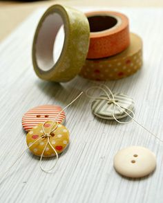 Washi Tape Covered Buttons