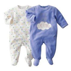 Pijama con pies de terciopelo (lote de 2)