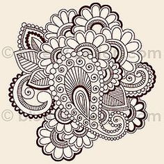 Mehndi Henna Tattoo Paisley Doodles Illustration by blue67design | by blue67design