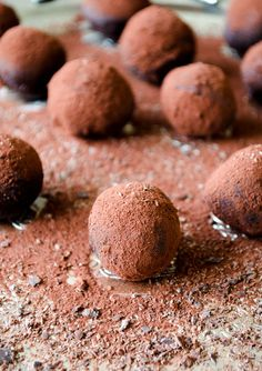 Cognac chocolate truffles flavored with orange zest