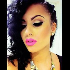 Im in love with a thick liner and bold lips... She needs help either lips, but I love the color