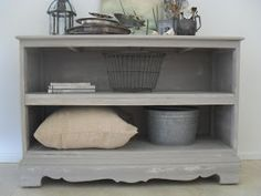 How To Reuse A Dresser Without Drawers - post explains how this dresser was transformed into this awesome storage piece.