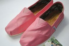 Custom Hand Painted TOMS in Pink by PaperHeartsApparel on Etsy, $80.00