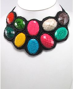 Colorful Resin and Seed Bead Statement Necklace