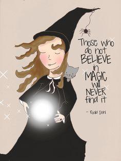 Halloween Art Witch PRINT Magic Belive door RoseHillDesignStudio
